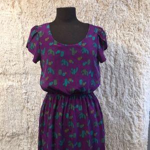 ModCloth Peach Love Cactus Purple Green Dress